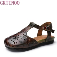 GKTINOO 2018 Hollow Soft Genuine Leather Women Sandals Flat Heels Closed Toes Comfortable Handmade Retro Women