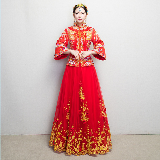 Red traditional wedding gown bride 2017 new chinese cheongsam red traditional wedding gown bride 2017 new chinese cheongsam phoenix woman dress qipao vestido oriental style junglespirit Choice Image
