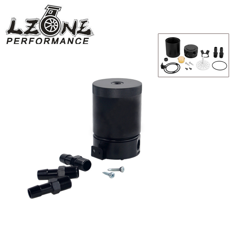 LZONE RACING - UNIVESAL RACING BAFFLED 3-PORT OIL CATCH CAN / TANK / AIR-OIL SEPARATOR JR-TK66 lzone racing black aluminium fuel surge tank with cap foam inside fuel cell 40l without sensor jr tk21bk