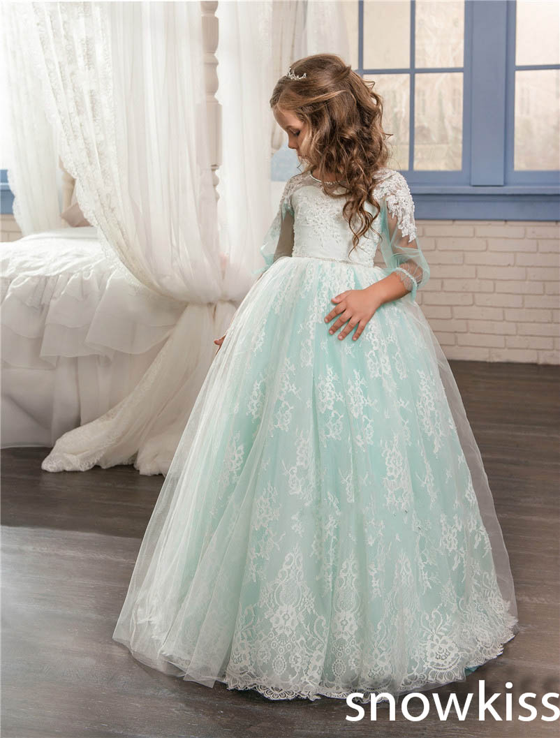 Mint green flower girl dress for wedding with lace appliques long communion dresses tulle ball gown little kids pageant gowns elegant lace floral appliques flower girls dress cute mint green sleeveless pearls beaded kids pageant ball gowns for communion