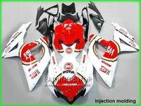 For suzuki injection molding fairings gsxr 600 750 2008 2009 2010 red white gsxr600 gsxr750 08 09 10 fairing kit nm04