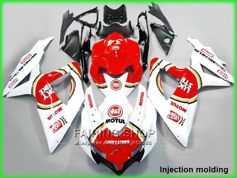 For suzuki injection molding fairings gsxr 600 750 2008 2009 2010 red white gsxr600 gsxr750 08 09 10 fairing kit nm04 7 free gifts fairing kit for suzuki k8 gsxr600 gsxr750 2008 2009 2010 white black fairings set 08 09 10 gsxr 600 750 bm17