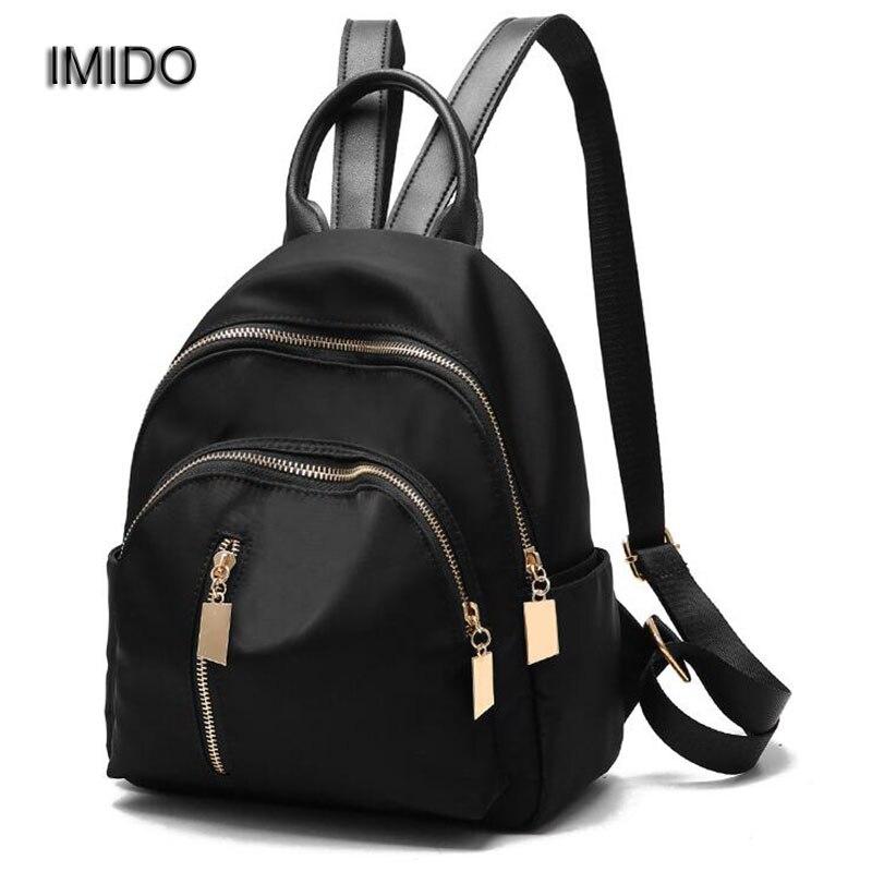 IMIDO New Luxury Female Backpack Nylon Backpacks for Women Backbag Girls School Bags Travel Black baobao mochila feminina SLD052