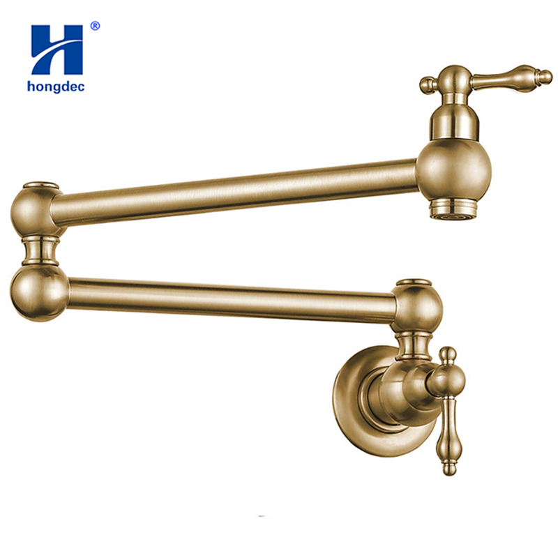 Hongdec Dual Handles Pot Filler Folding tap Brass Kitchen Sink Faucet Brushed gold Only Cold Water