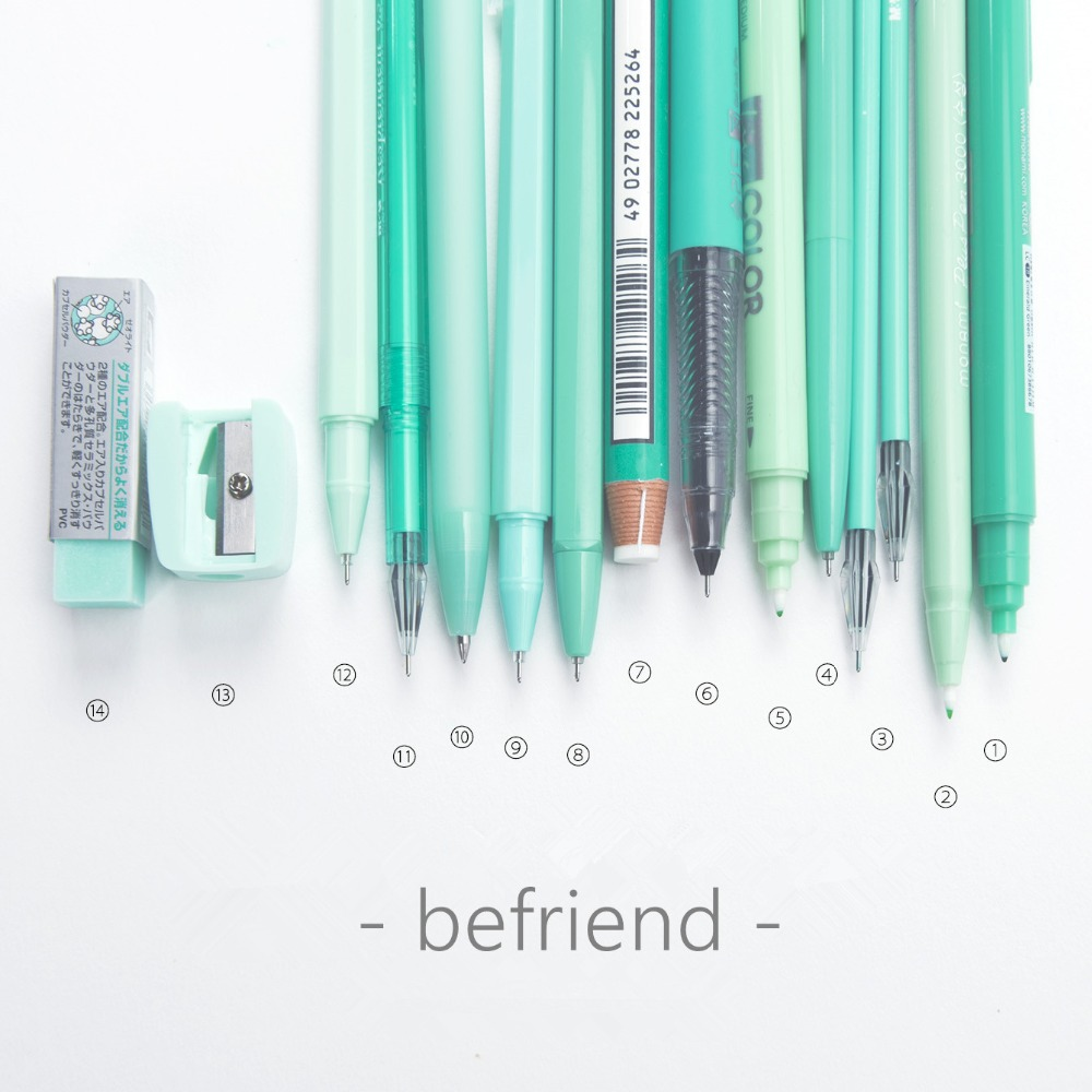BEFRIEND Stationery set Mint green 2018 New kawaii stationery set gift for girls with pencil case cute pen gift sets papelaria