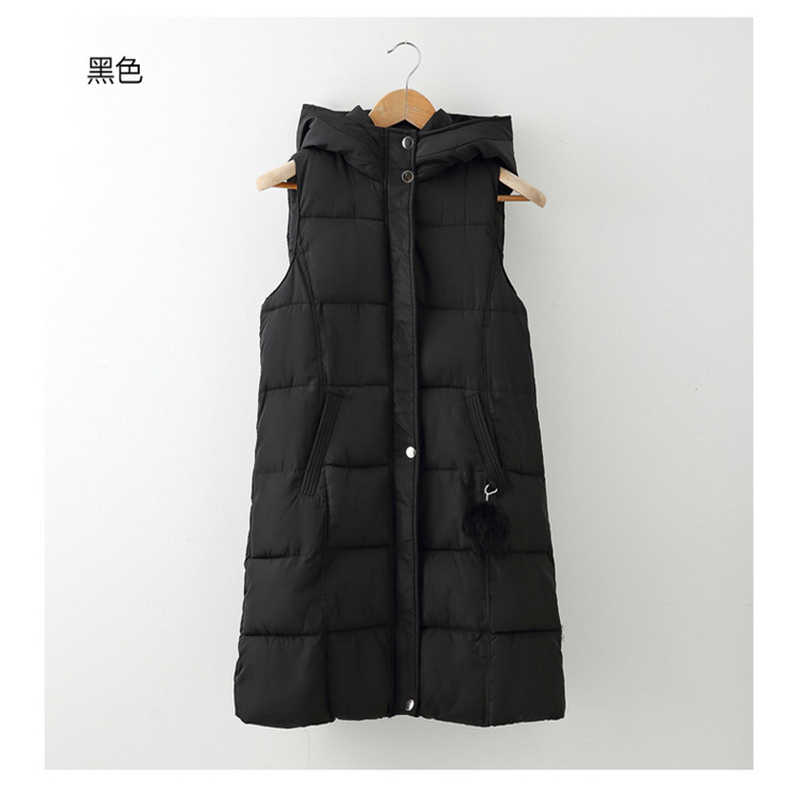 2018 New Fashion Women Winter Vest Waistcoat Womens Long Vest Jacket Sleeveless Solid Color Down Cotton Warm Vest Female VE054