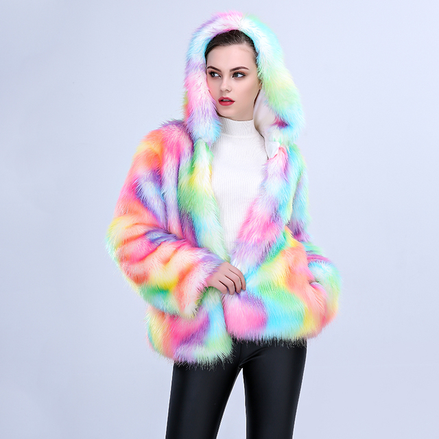 46ced5bcbe4 2019 New Winter Women Multicolor Faux Fox Fur Coat with Hooded Colourful  Female Slim Artificial Fur
