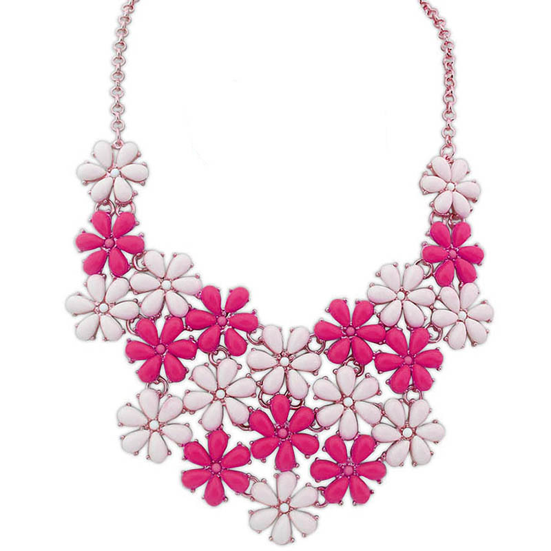 Match-Right Resin Beads Daisy Statement Necklace Women Bib Necklace & Pendants Summer Style Jewelry colar For Gift Party gothic style hollow out beads necklace for women