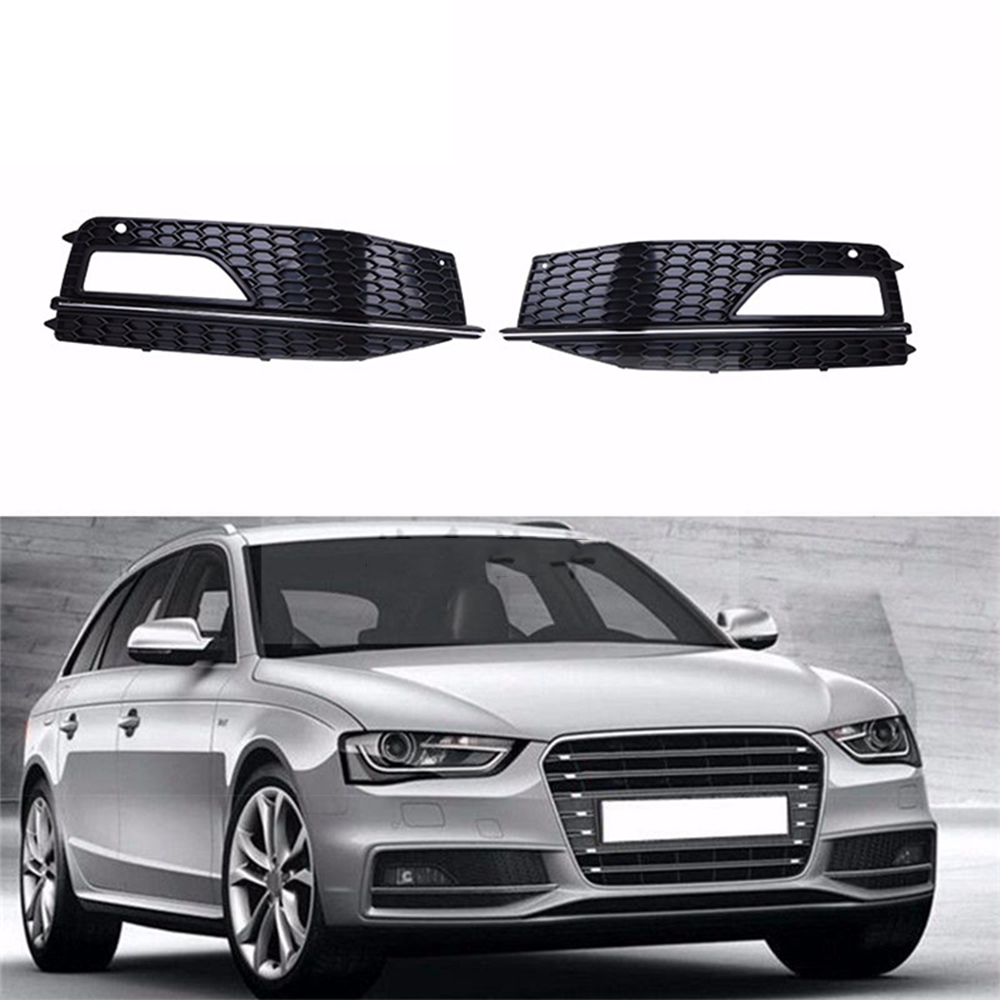 Car Front Lower Bumper Fog Light Cover Vent Grille Side Insert Center Grilles for Audi A4 S-line S4 B9 2013 2014 2015 2016 1 pair car styling left & right front bumper lower fog light lamp grille cover for audi a4 s line s4 2013 2014 2015 only