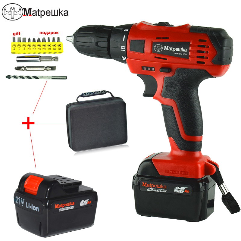 21V Electric Screwdriver Lithium Battery Rechargeable Drill Mini Cordless Double Speed Electric Drill 2 Battery Power Tools wosai 20v cordless electric hand drill lithium battery electric drill cordless 2 speed drill electric screwdriver power tools