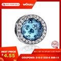100% Real 925 Plata de ley 10 colores cristal radiante corazones encanto Ajuste Original WST encanto pulsera auténtica joyería regalo