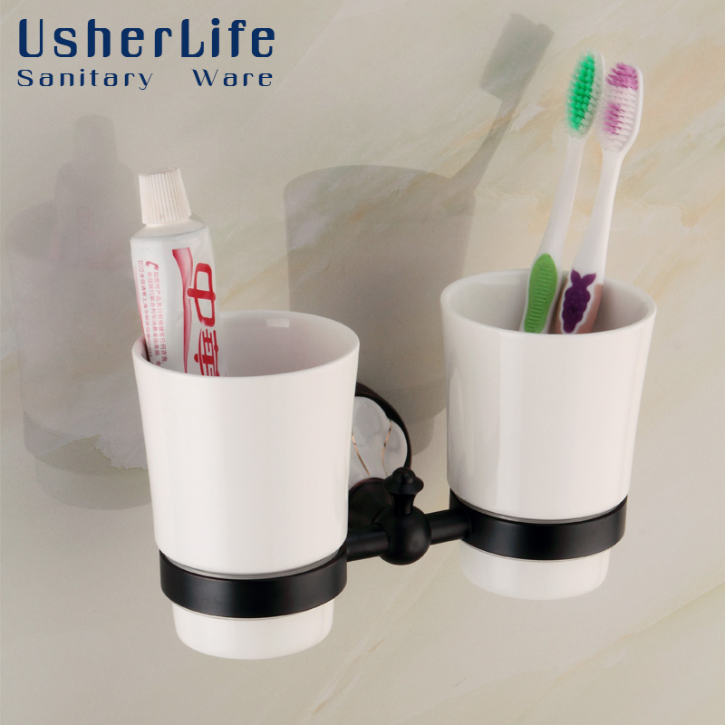 Usherlife Antique Brass Toothbrush Cup Holder Double Ceramic Cup ORB Black Tumbler Holders Bathroom Accessories candino elegance c4415 2