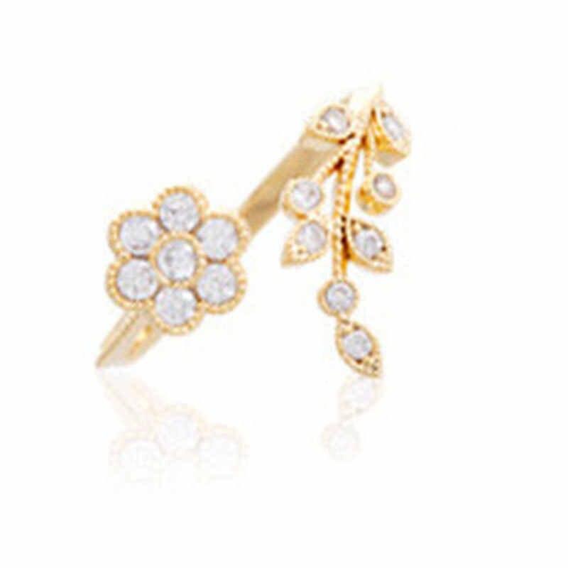 2019 Rose Gold แหวนเปิดปรับได้สำหรับผู้หญิงคริสตัล Leaf แหวนดอกไม้สำหรับผู้หญิงแฟชั่นแหวนเงินสำหรับสุภาพสตรี