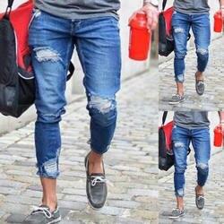 Мужские джинсовые рваные джинсы тонкие мужские полосатые джинсы в стиле хип-хоп обтягивающие джинсы-карандаш для мужчин высокие уличные