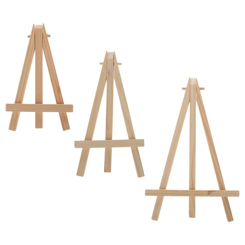 12x20cm Natural Wood Mini Easel Frame Tripod Display Meeting Wedding Table Number Name Card Stand Display Holder Painting Craft