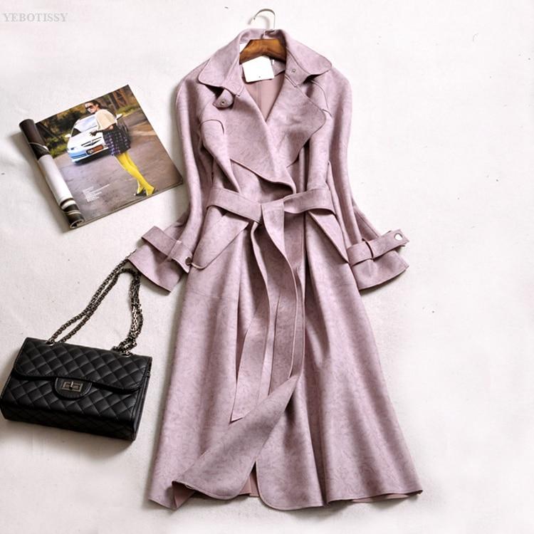 Manches En Coat Taille Plus Ceinture La blue Pour 2018 Nouveau Femmes pink Mince Style Feminino Tissu Trench Longues Pardessus Daim Green Outwear À gray Automne Hiver tWUYq