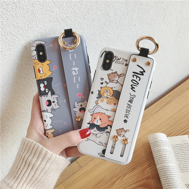 Cute Cat IMD durable case wrist strap For iPhone XS case XR XS Max iPhone 6 plus 6s 7 plus 8 Plus with wristband lovely animal