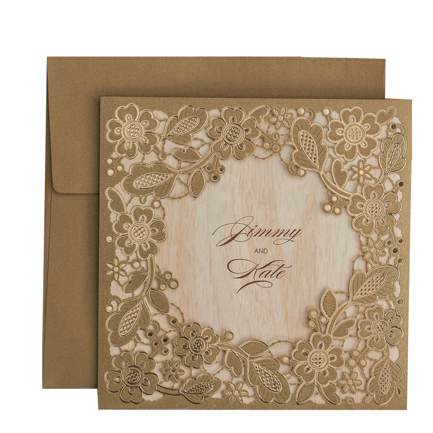 50pcs lot Gold Flowers Paper Cardstock Laser Cut Wedding Invitations Cards for Bridal Shower Marriage Engagement