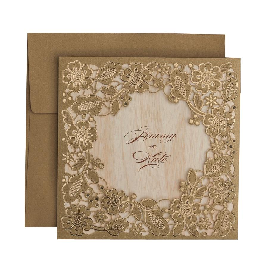 Wedding Invitation Card Paper: 50pcs/lot Gold Flowers Paper Cardstock Laser Cut Wedding