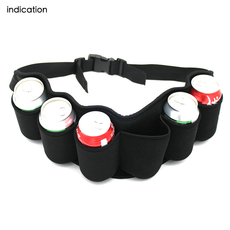 1pcs Outdoor Six Pack Beer Belt Bottle Waist Bag Portable Beverage Drink Cans Holder Camping Gathering BBQ Party costumi moda 2019