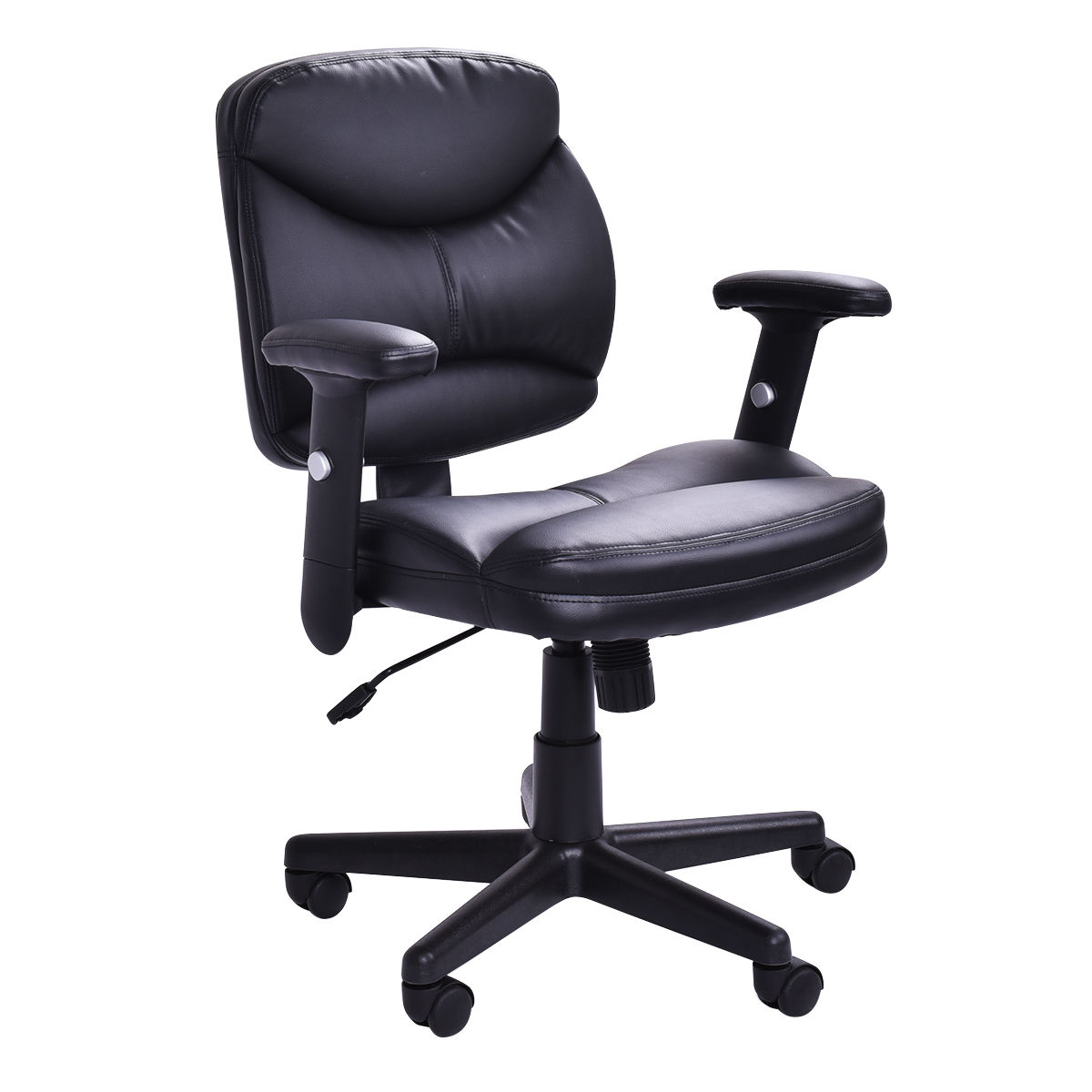 Giantex Executive PU Leather Office Chair Mid-Back Modern Computer Desk Task Armchair Modern Swivel Gaming Chair HW52714 new pu leather high back desk office chair executive ergonomic computer task hw50277