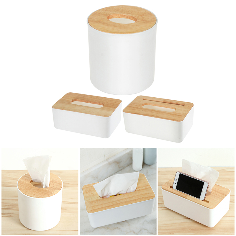De tejido de plástico caja nueva marca de madera moderno de cubierta de papel de roble casa coche servilletas titular caso organizador casa decoración herramientas