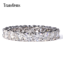 TransGems 4.5 CTW F Colorless Moissanite Eternity Wedding Engagement Anniversary Band in 14K White Gold Ring for Woman