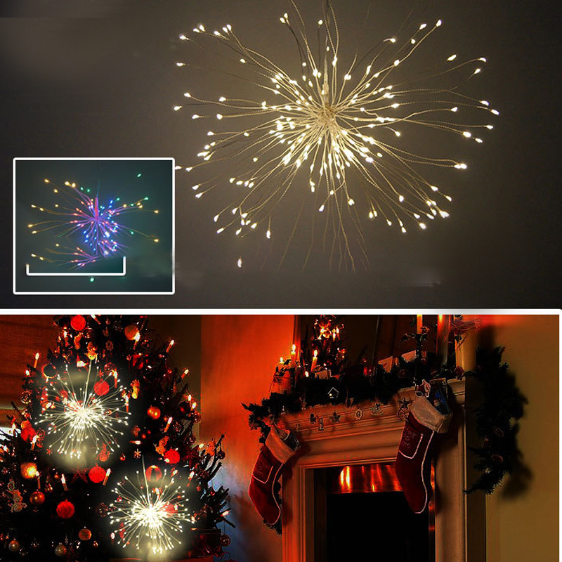 Christmas Fireworks Copper Wire String Halloween LED Features Remote Control Waterproof Battery Box Explosion Ball Decoration