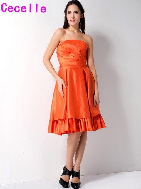 Kurze Orange Brautjungfernkleider Trägerlosen Vintage Taft A linie ...