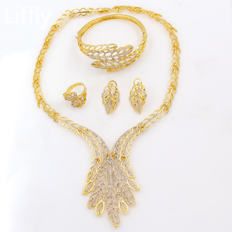 Fashion Italy 24 Gold Party Jewelry Sets Dubai Glamour Woman Married Crystal Necklace Earrings Bracelet Gift Jewelry Accessories