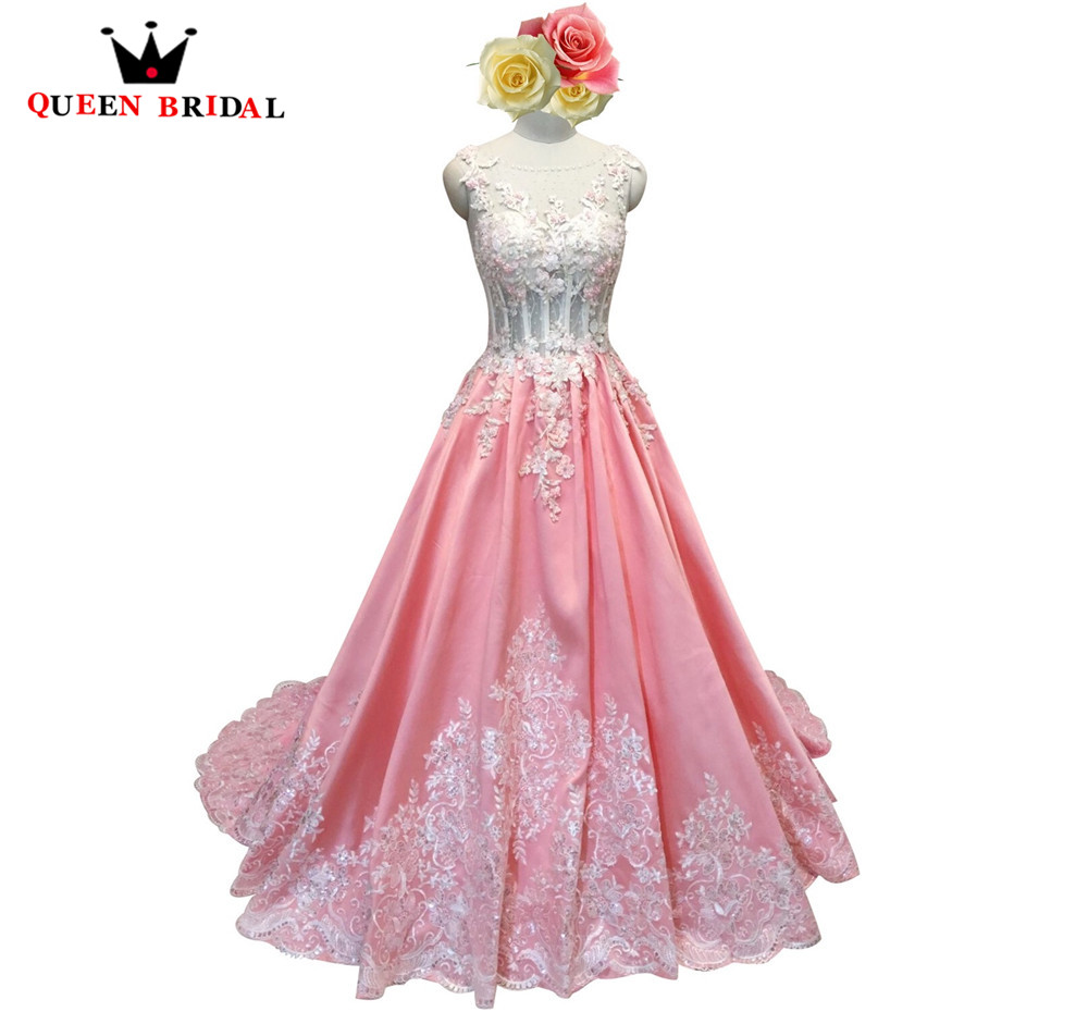 Pink Ball Gown Satin Appliques Beads Lace Evening Dresses 100% Real ...