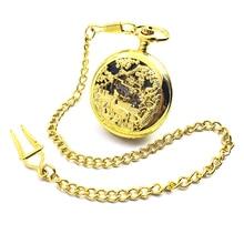 CAIFU Brand Skeleton Steampunk Deers Golden Case Arabic Number Dial Mechanical Hand Wind Mens Pocket Watch Half Hunter Watch