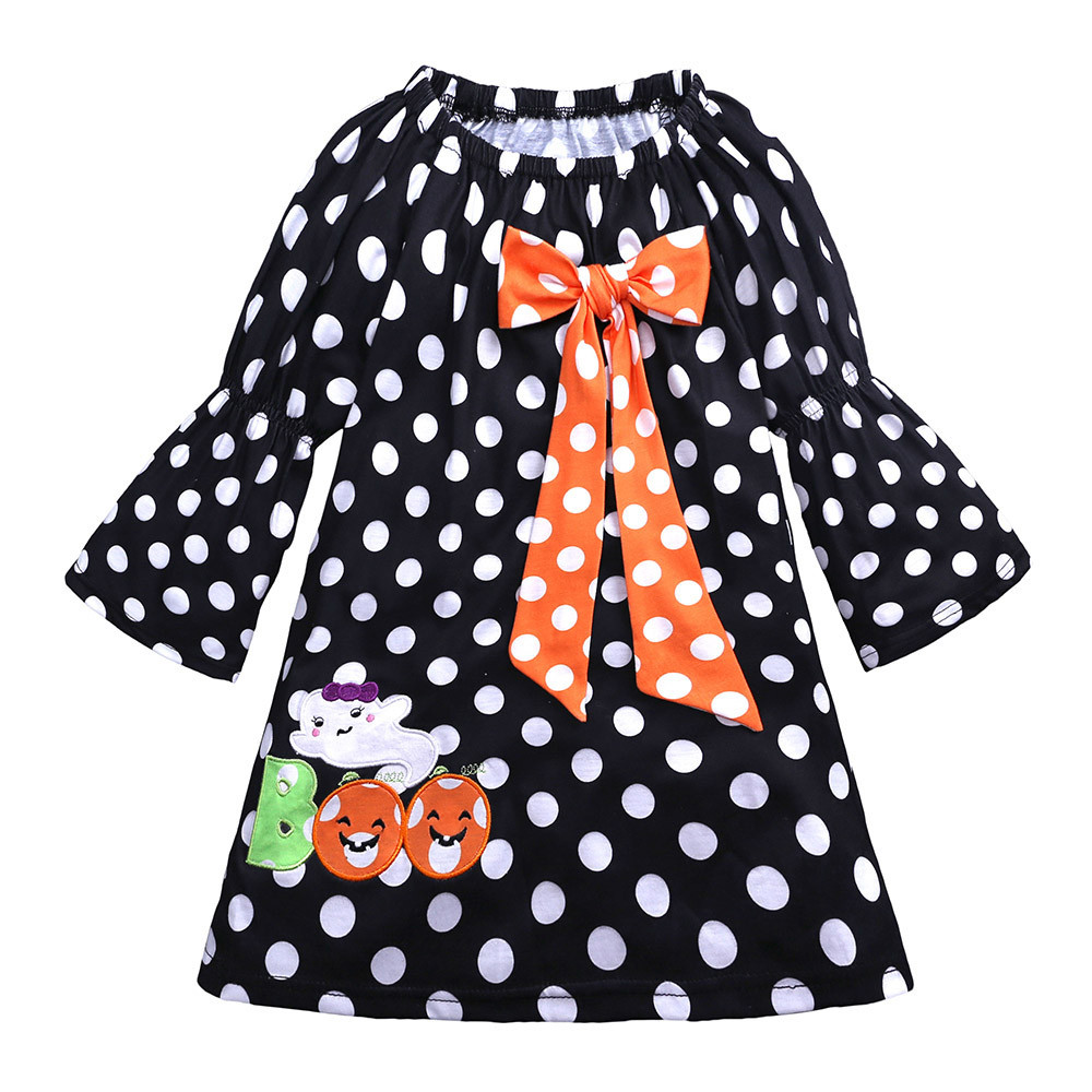 Toddler kids dresses for girls clothing Summer Baby Girls Dot Bowknot Embroidery Dresses Halloween Costume Outfits Dropshipping