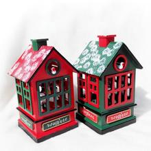 Christmas Music Box Wooden House Household Adornment Decoration Wood Crafts Christmas Birthday New Year Gift R5