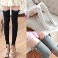 Medias de encaje arco niñas 2016 Japenese estilo preppy botas sobre la rodilla calcetines de otoño/invierno dulce school caliente larga de las mujeres calcetines de algodón