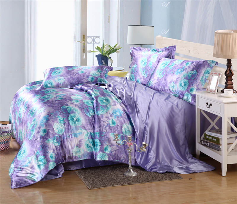 Satén de seda conjunto de sábanas edredón cubre colcha doble reina completa king size dormitorio decoración púrpura azul flor estilo chino