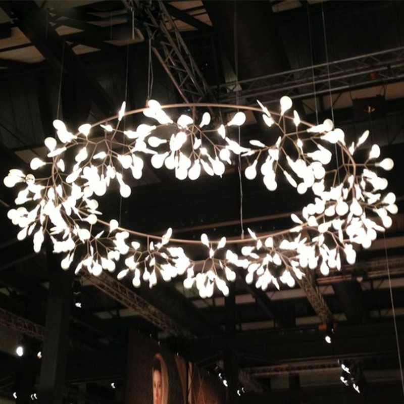 Modern LED Lamp Firefly Tree Branch Leaf Pendant Light Round Flower Suspension Lamps Art Bar Restaurant Home Lighting AL127B