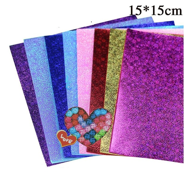40 Sheets Lot Square Paper Colored Craft Diy Colorful Flash Paper 15
