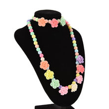 Candy Beaded Bubblegum Necklace Lovely Kids Necklaces Bracelet Rose Shaped Baby Girl Party Jewelry Multicolor(China)