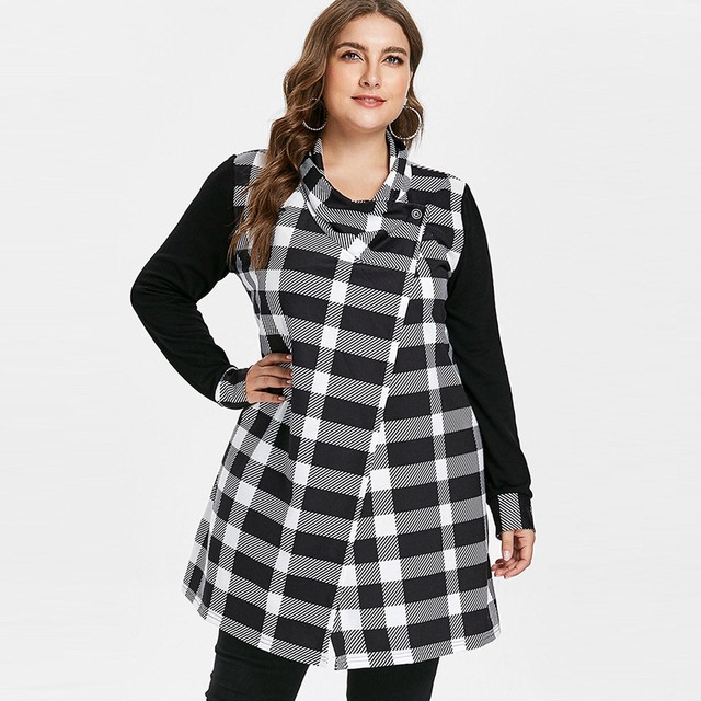 2018 Fall Women Coat Gothic Vintage Casual Office Lady Plus Size Loose Cardigan Button Plaid Girl Large Size Female Outwear