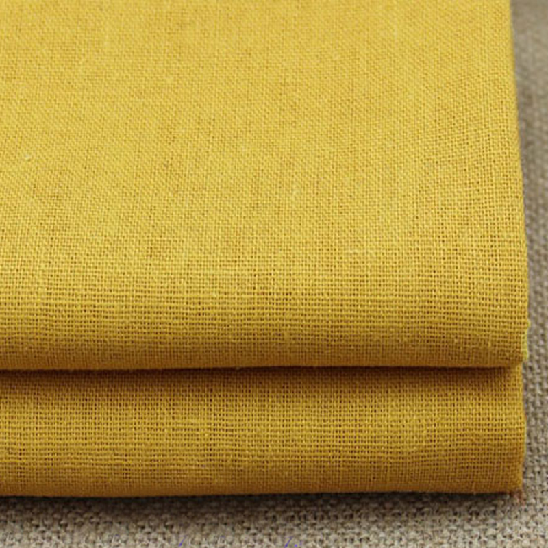 100 140cm plain dyed gold sewing material cotton linen for Bulk sewing material