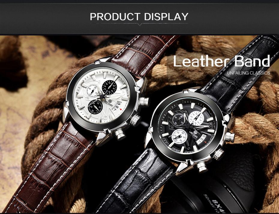 Topdudes.com - MEGIR Original Quartz Business Watches with Leather Band