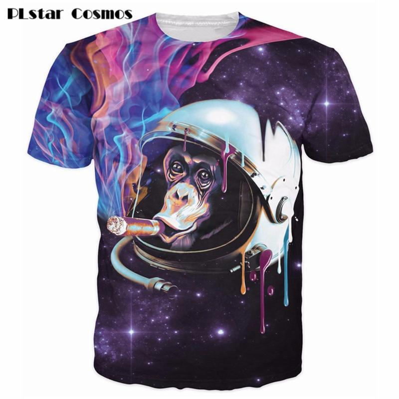 PLstar Cosmos Space Monkey T-Shirt sick illustration of a monkey smoking a cigar in space 3d Women Men Summer t shirt tops