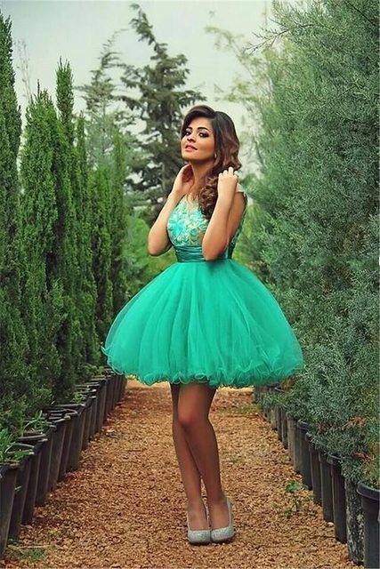 2017 Cute Sleeveless Turquoise Party Dress mezuniyet elbiseleri Embroidered vestido de formatura curto Short Homecoming Dresses