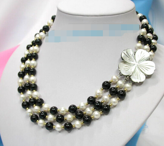 Wholesale free shipping 100% Natural jewelry >3row white cultured pearls black agate necklace shell c