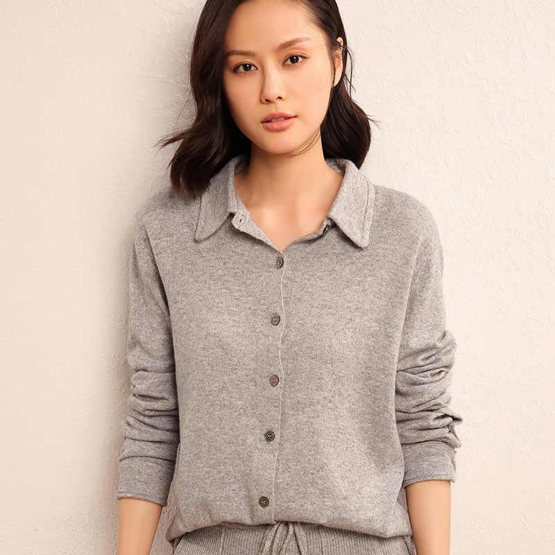 903dc0d6a Hot Sale Women Sweaters Turn-down Collar Cardigans 100% Cashmere and Wool  Knitting Knitwear Woman Woolen Outerwear Standard Tops