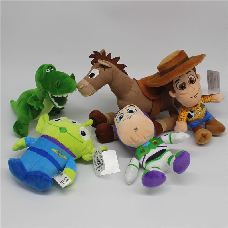 5piece Original 2019 Toy Story 4 woody Buzz Lightyear Bullseye Alien Rex dinosaur Stuffed Super Soft