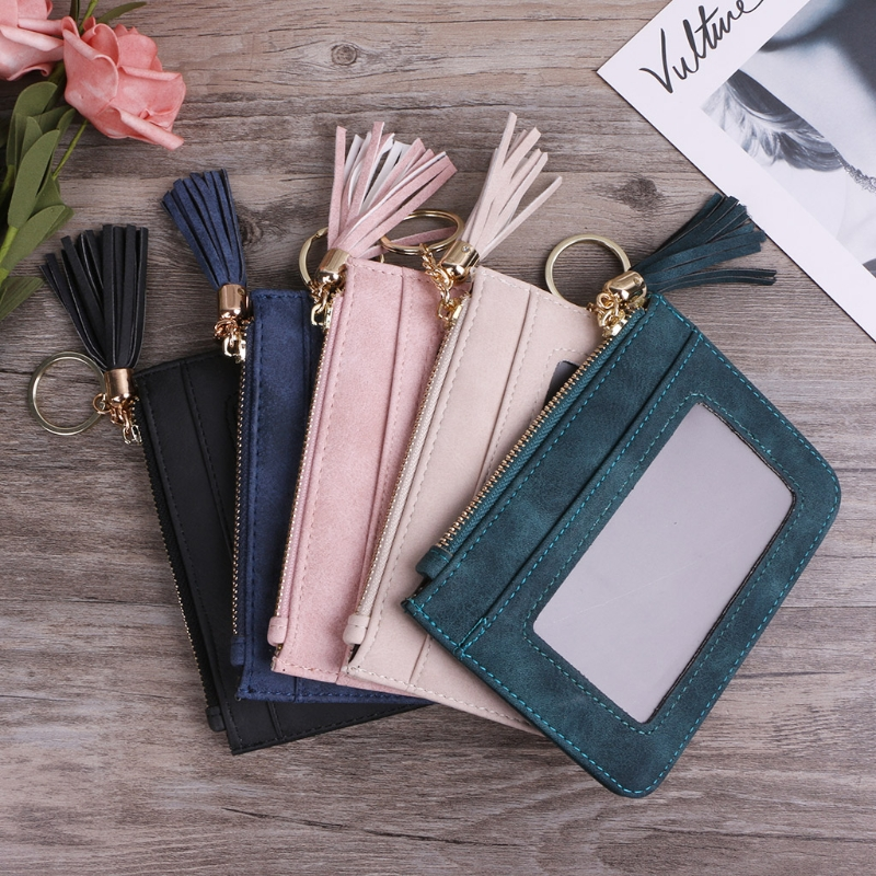 Mini Coin Purse Faux Leather Mini Tassel Pendant Women Lady Card Holder Coin Purse Wallet Case