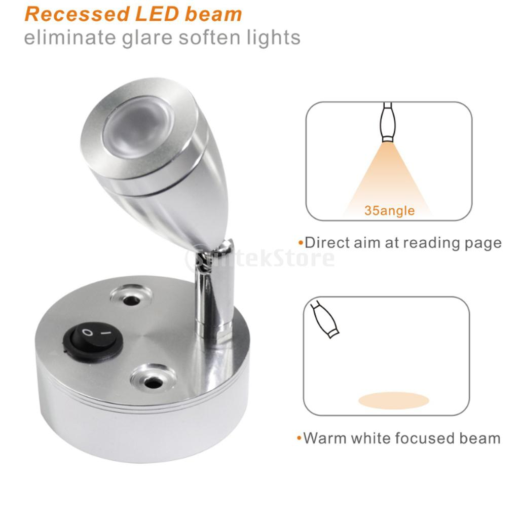 Marine Boat 12-Volt RV Light Fixture Natural White Bright Reading Light For RV Accessories Yacht Boating Dinghy Cruises Cabin