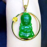925 Silver inlaid Hetian yu Baby Buddha and Bodhisattva are naive, lovely and spiritual/